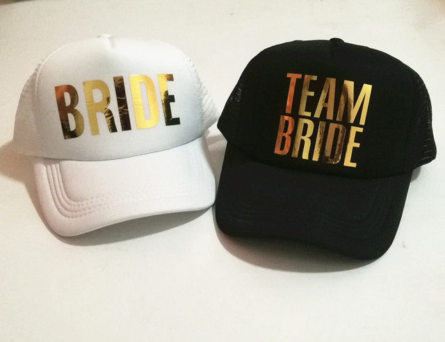 C Fung Bride team bride hats golden printing Bachelorette Hats Women Wedding  Preparewear Trucker Cap free shipping 9d004f396ac1