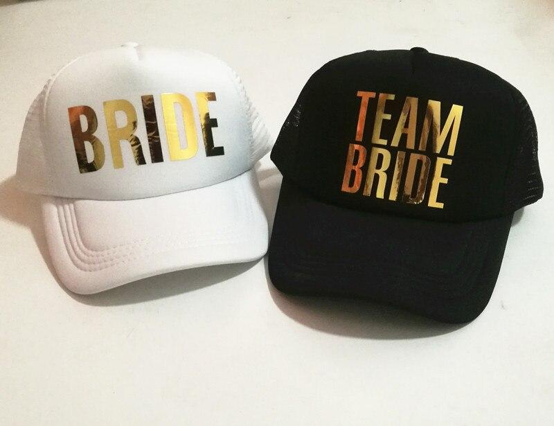 Prix pour C & Fung l'équipe De Mariée De mariée chapeaux d'or impression Bachelorette Chapeaux Femmes De Mariage Preparewear Chapeau De Camionneur livraison gratuite
