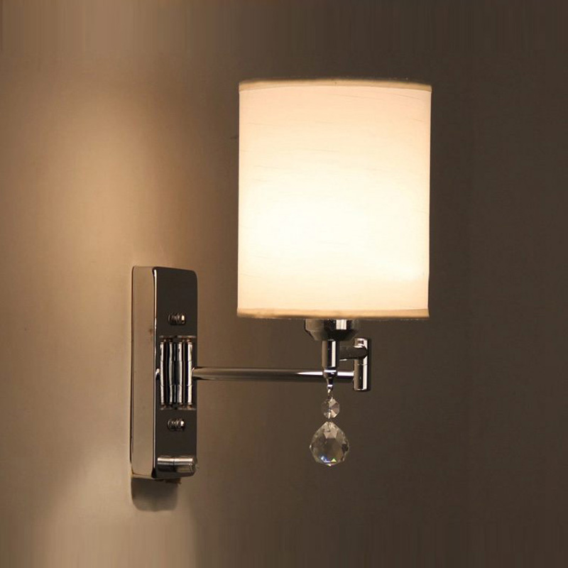 Simple Fabric Tall Wall Light: Simple Design Bedroom Bedsides Fabric Wall Lamp Chrome