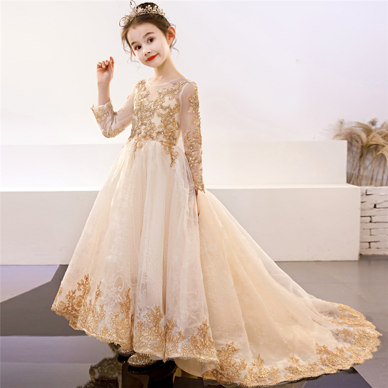 Children Girls Luxury Embroidery Lace Model Show Performance Evening Party Long Tail Dress Kids Teens Golden Birthday Host DressChildren Girls Luxury Embroidery Lace Model Show Performance Evening Party Long Tail Dress Kids Teens Golden Birthday Host Dress
