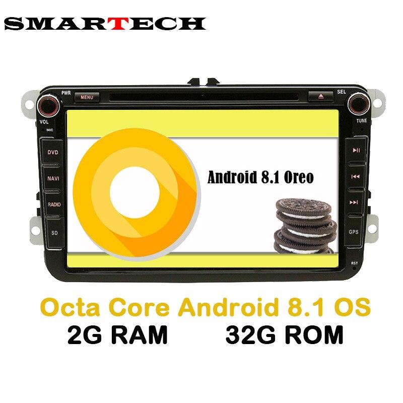 SMARTECH 8 Core 2 Din Android 8.1.0 VW стерео радио 2 г оперативной памяти 32 г ROM 2Din dvd-плеер для VW Skoda Поло Гольф PASSAT CC JETTA