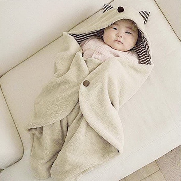 Cute Kids Infant Warm Blanket Swaddle Sleep Sacks Bedding Bag Wrap Soft Cartoon Envelope Baby Blanket FJ88