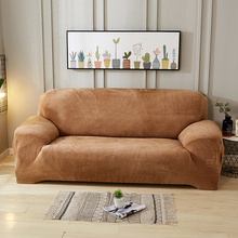 Solid color Plush Stretch Sectional Sofa Covers All-inclusive Polyester Elastic Couch Cover Sofa Towel Sofa Cushion Slipcovers