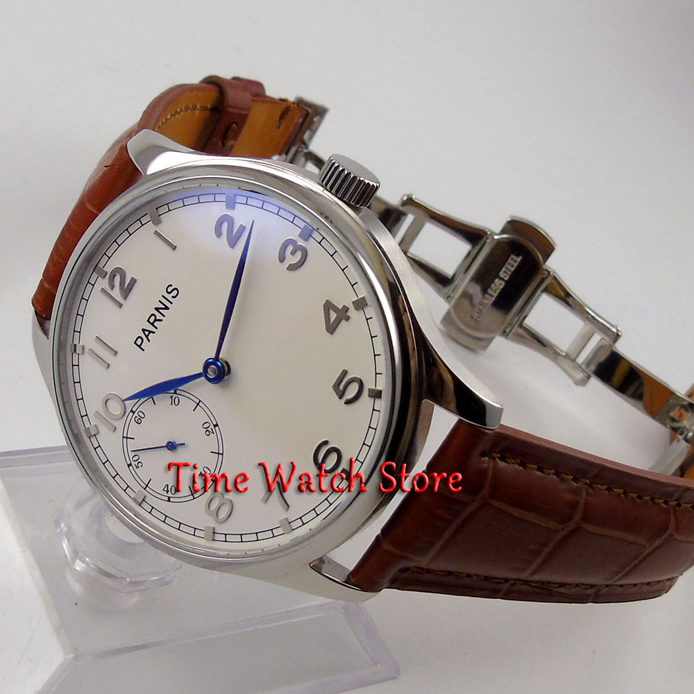 Parnis 44mm white dial blue hands deployant clasp 6497 hand winding movement Men's watch 28