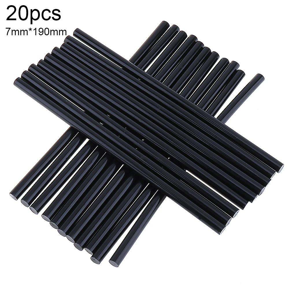 20pcs/lot Gun Hot-melt Glue Sticks Adhesive DIY Tools Alloy Accessories Repair 190mm Black 7mm For Electric Glue Gun