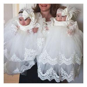 Простое милое детское кружевное крестильное платье для малышей, платье для крещения с длинным рукавом, платья для первого причастия без гол...
