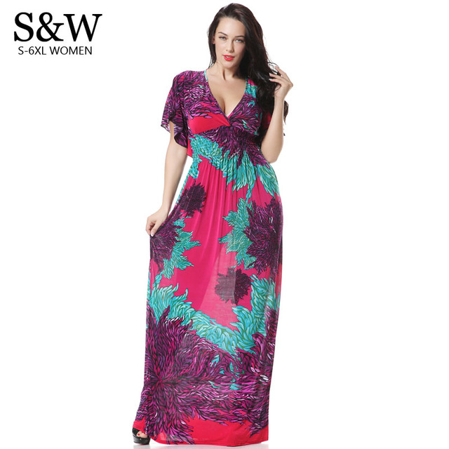 Plus Size XXXL 4XL 5XL 6XL Bohemian Summer Women V-Neck Print Floral Ice  Silk Beach Dresses Long Maxi Dresses Big Size M-6XL 70f7f92bac1f