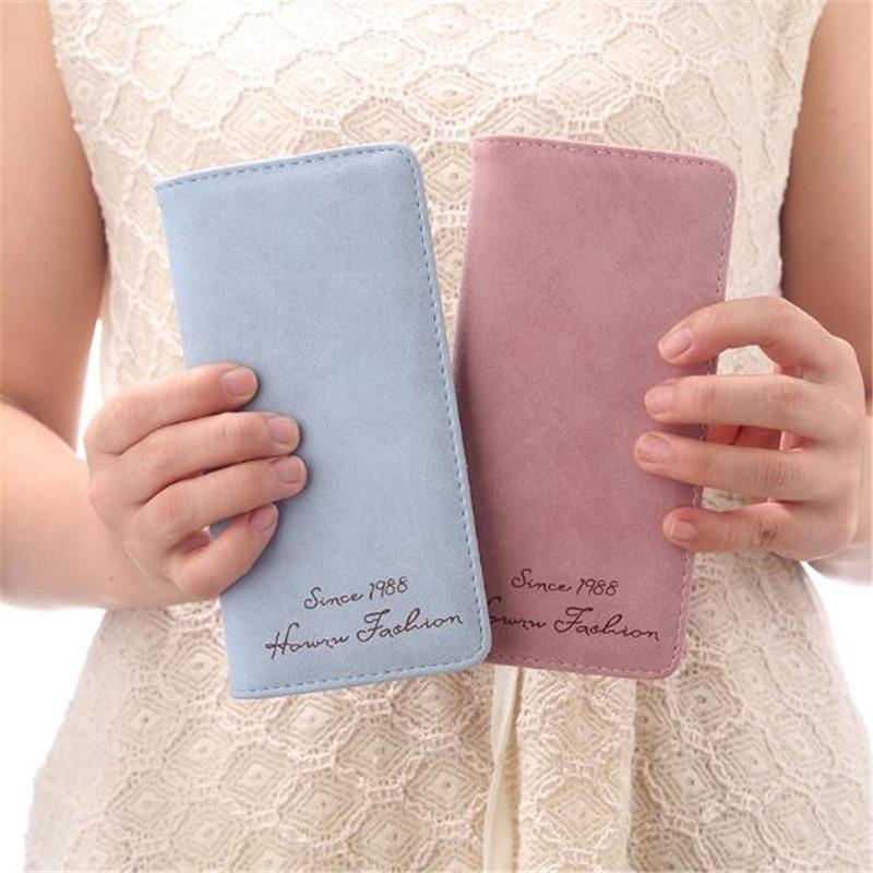 Long Women Wallet Soft Matte Retro Money Clutches PU Leather Wallet Slim Personality Fashion Money Purse Wallet ID Card Holder