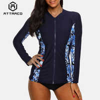 Attraco Women Long Sleeve Zipper Rashguard Swimsuit Floral Print Swimwear Surfing Top Rash Guard Running Shirts UPF50+