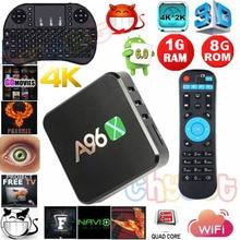 2016 Последним A96X 1 ГБ/8 ГБ S905X Amlogic Android 6.0 TV Box Quad Core 2.4 Г Wi-Fi Полный Загружен Miracast Media Player Set Top Box