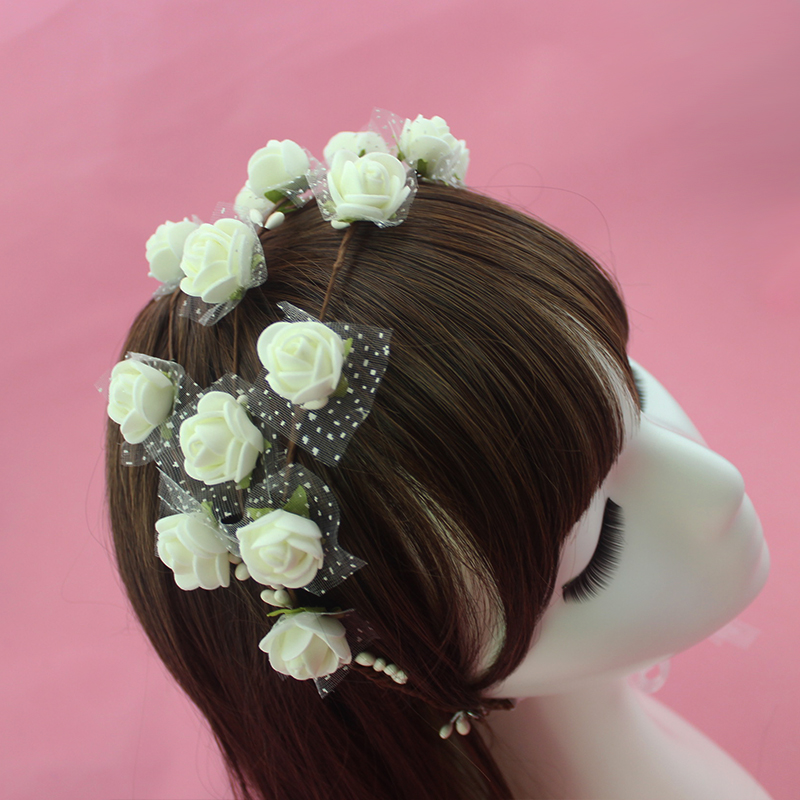 Wedding White Flower Crown: 4 Colors Bridal White Flower Headpiece Wedding Hair