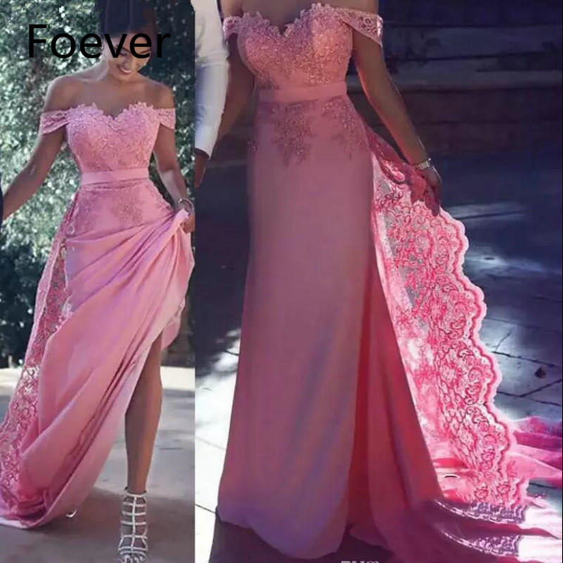 2019 Long Evening Dresses Off Shoulder With Lace Applique Wedding Guest Dresses Back Zipper Court Train Pink Prom Gowns