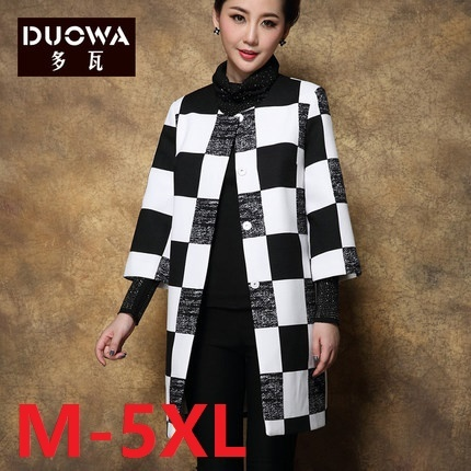 2016 Spring trench coat o-neck loose plaid single breasted trench plus size outerwear women clothing for mother