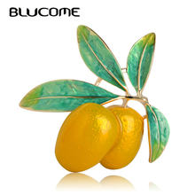 Blucome Vivid Orange Olives Shape Enamel Brooch Yellow Alloy Pins Women Kids Scarves Suits Coats Accessories Christmas Ornaments(China)