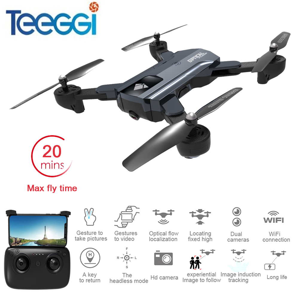 Teeggi F196 Mini Foldable RC Drone With 2MP HD Camera RC Quadcopter Helicopter Optional Flow Localization VS Visuo XS809S SG700