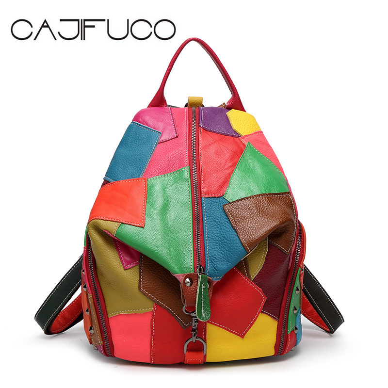 CAJIFUCO Fashion Chic Punk Rock Rivet Style Backpack Genuine Leather Contrast Color School Backpack Matching Studded Zipper Bag все цены