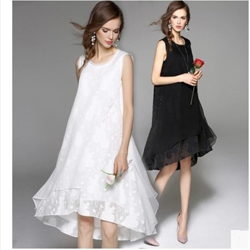 Buy Cheap Cool 2017 Free Shipping New Spring Summer Cotton Linen Fashion Women Long Black White Dresses Loose Sleeveless Plus Size Dress