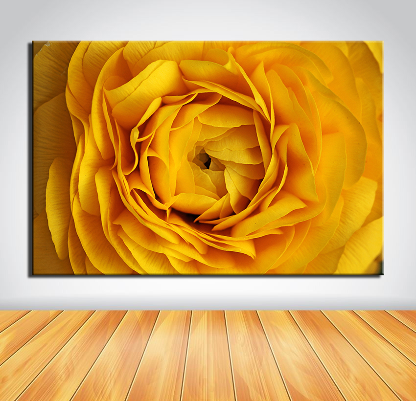 Wall Art No Frame Beautiful Rose Flowers Yellow Oil Painting Canvas ...