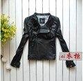 Mujer de nueva corto negro de alta calidad de cuero de piel de cabra genuina excelente ropa para damas de gran tamaño de carreras chaqueta de la capa Ml XL 2XL