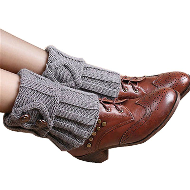 New Ladies Crochet Knitted Simple Design Boot Cuffs Toppers Knit Leg Warmers Women Winter Short Liner Boot Socks