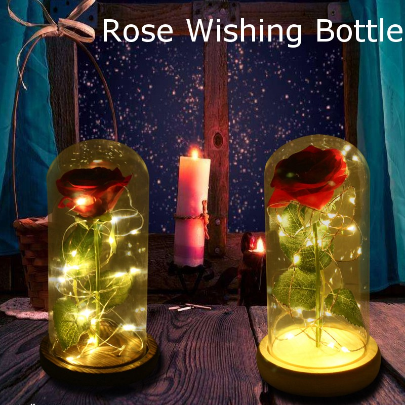 Smuxi DC4.5V LED Rose Wishing Bottle Festival Light Warm White Light Black/Beige Base Rose Flower Bottle Night Light Gift