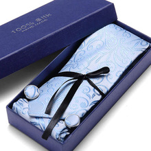 New Floral Mens Tie 100% Silk  Classic Black Hanky Cufflinks Necktie Ties For Men Formal Business Wedding Party C175