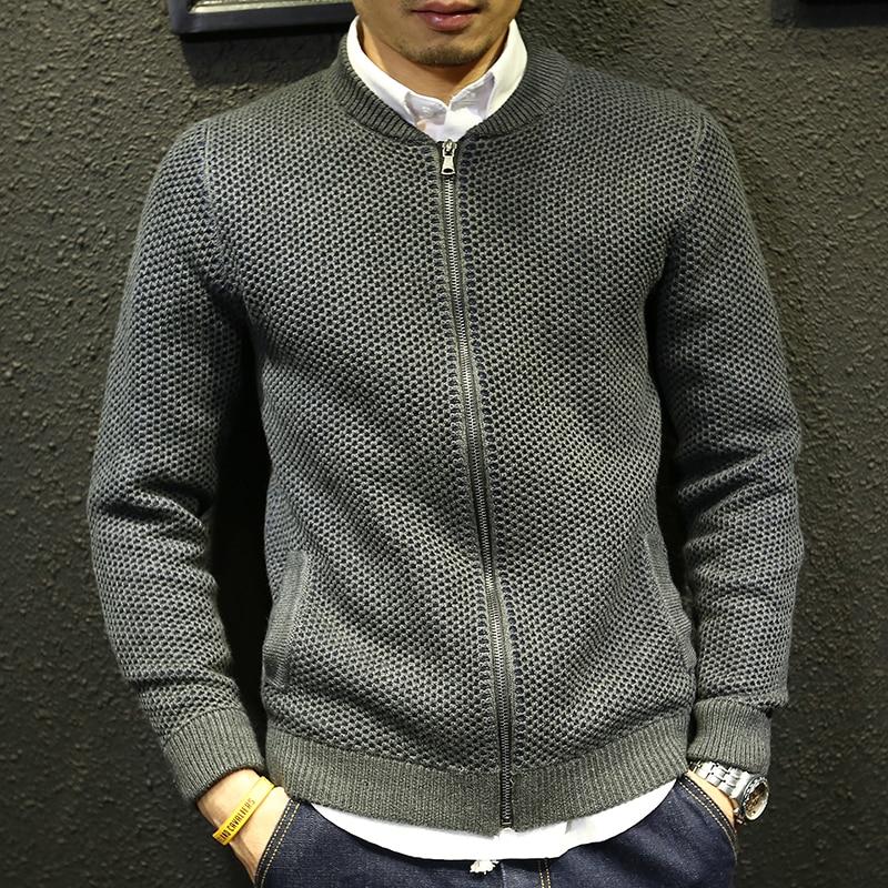 Slim sweater jacket for men 2017 new autumn teenage boy cardigan knitted outerwear male baseball clothing zipper fashion
