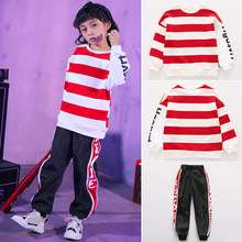 Teenage Girls Clothing Set Hip Hop Kids Clothes Boys for Dance Red White Striped Tops Streetwear Clothes Sets 4 6 8 10 12 14 16Y 2017 new fashion print baby boys t shirt hip hop dance harem pants boy 4 6 8 10 12 14 year sport clothes suits kids clothing set