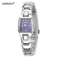 Longbo New Elegant Stainless Steel Bracelet Watch Women Rectangle Dial Waterproof Casual Quartz Watch Ladies Relogio