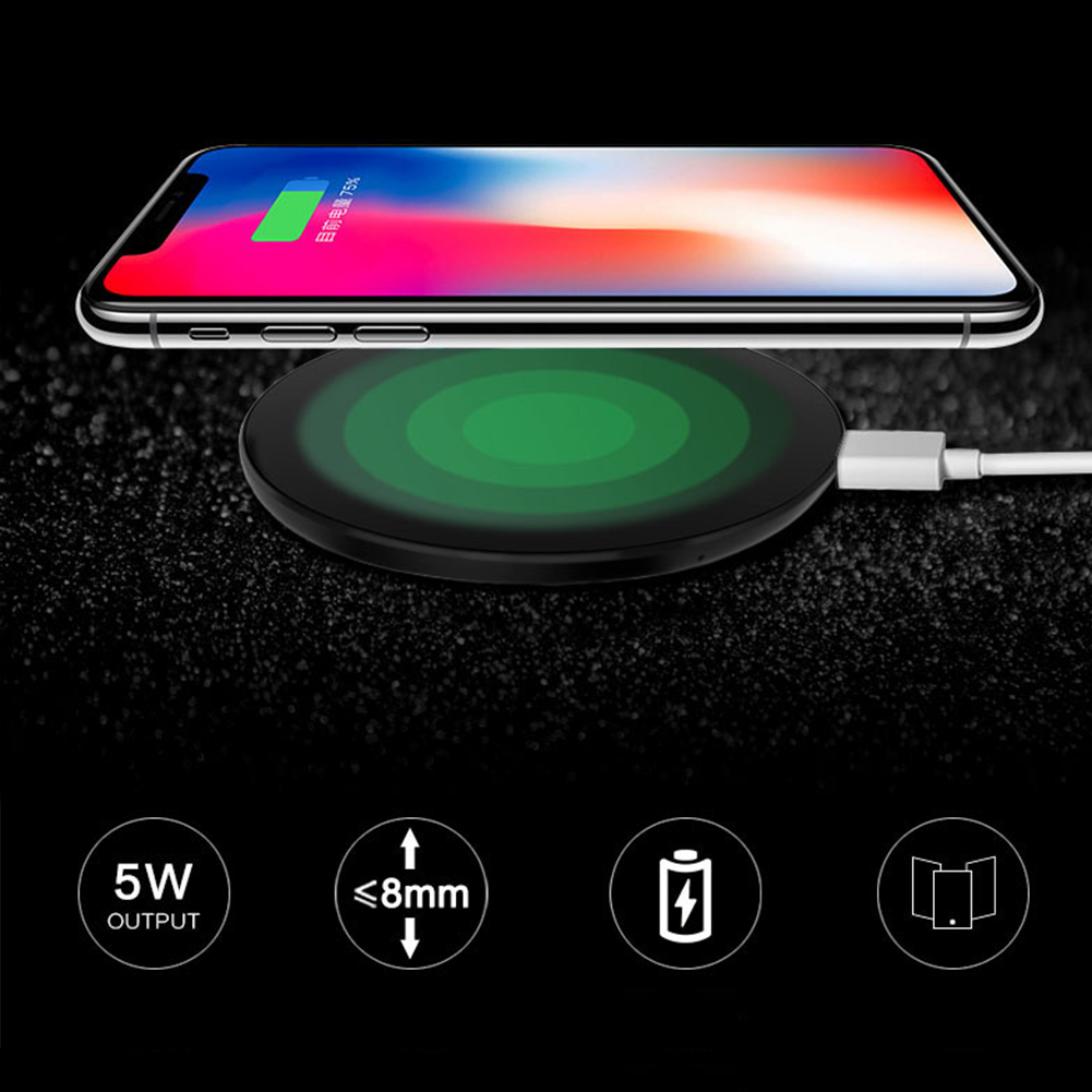 Ultra Slim QI Wireless Charger,Charging Pad,ABS Frame for iPhone X/iPhone 8/8 Plus Galaxy S8/Note 8/S7/S7 Edge Black
