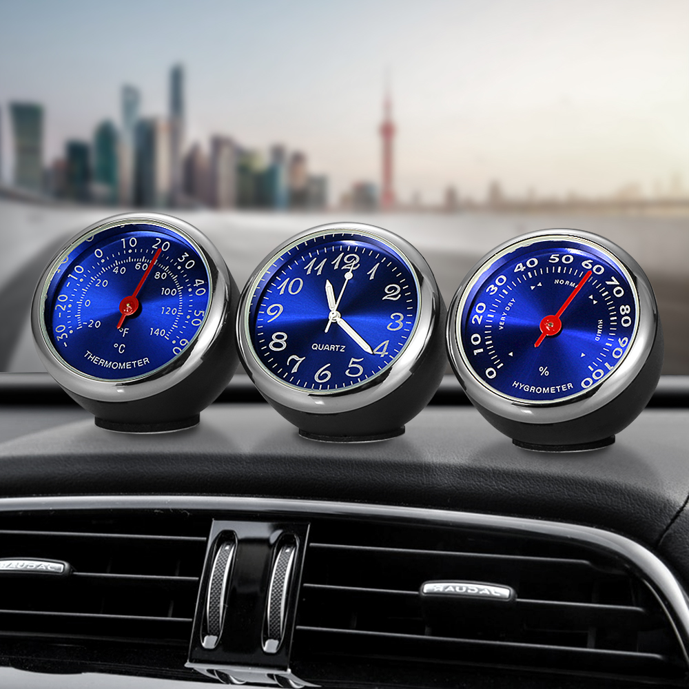 Car Ornament Automotive Clock Auto Watch Thermometer Hygrometer Home Automobiles Interior Decoration Clock In Car Accessories