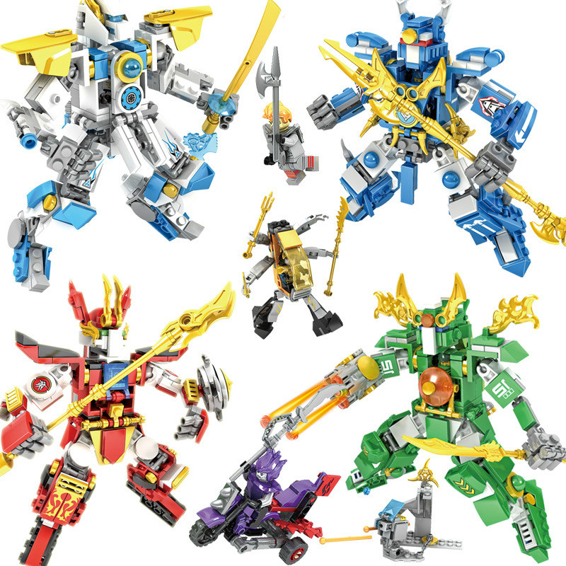 4in1 New Ninjagoes Dragon Knight Transformation God Beast Building blocks compatible legoings sets Toys for children Gifts