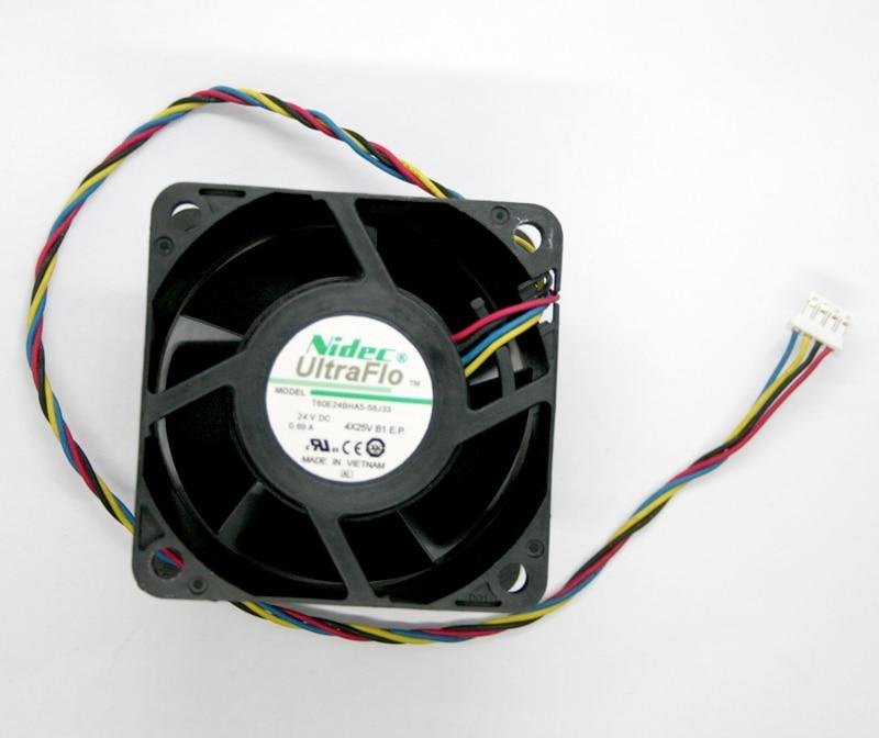 NIDEC T60E24BHA5-58J33 DC 24V 0.69A 6038 60*60*38MM 4 Lines Cooling Fan