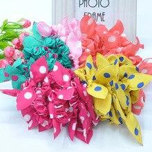 TS 20pcs Cute bunny girl flower hair clip headbands ears dot chiffon headwear wild elastic hair band hair rope ornaments