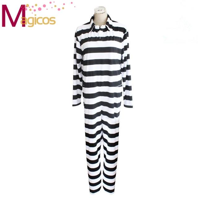 654ab25c0325 Anime Kangoku Gakuen Prison School Prison Uniform Cosplay Party Costume  Black and White Striped Jumpsuits