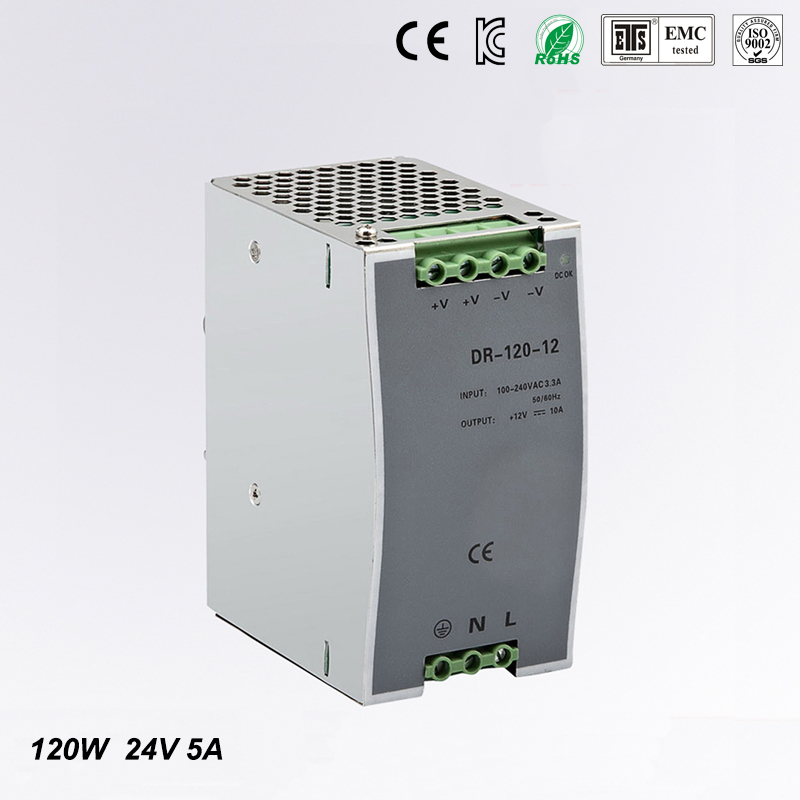 (DR-120-24) CE RoHS two years warranty 120W 24v din rail power supply 85-264VAC input
