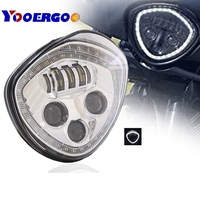 Black /Chrome Angel Eye LED Headlight For 10 16 Victory Motorcycle Cruisers Cross Road Country