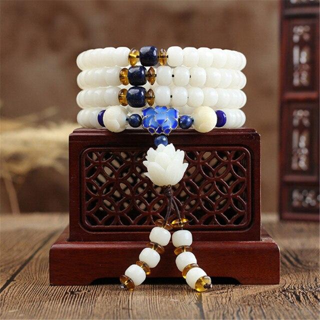 """Буддийский натуральный белый корень Бодхи 108 мала бусина """"ведерко"""" браслет или ожерелье с перегородкой лотоса для мужчин и женщин оптом"""