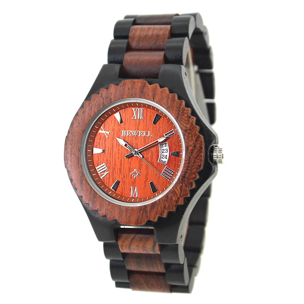 BEWELL Mens Sandalwood and Ebony Watch All Wood Strap Quartz Analog Watches Simple and Stylish Personality Clock Gifts 129ABEWELL Mens Sandalwood and Ebony Watch All Wood Strap Quartz Analog Watches Simple and Stylish Personality Clock Gifts 129A