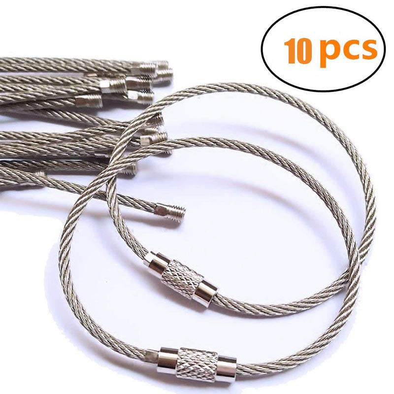 10Pcs Stainless Steel Wire Keychain Ring Key Keyring Circle Rope Cable Loop Outdoor Camping Hiking Luggage Tag Screw Lock 5.9