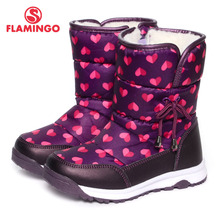 FLAMINGO 2016 new collection winter fashion snow boots with wool high quality anti-slip kids shoes for girl 52-NC406