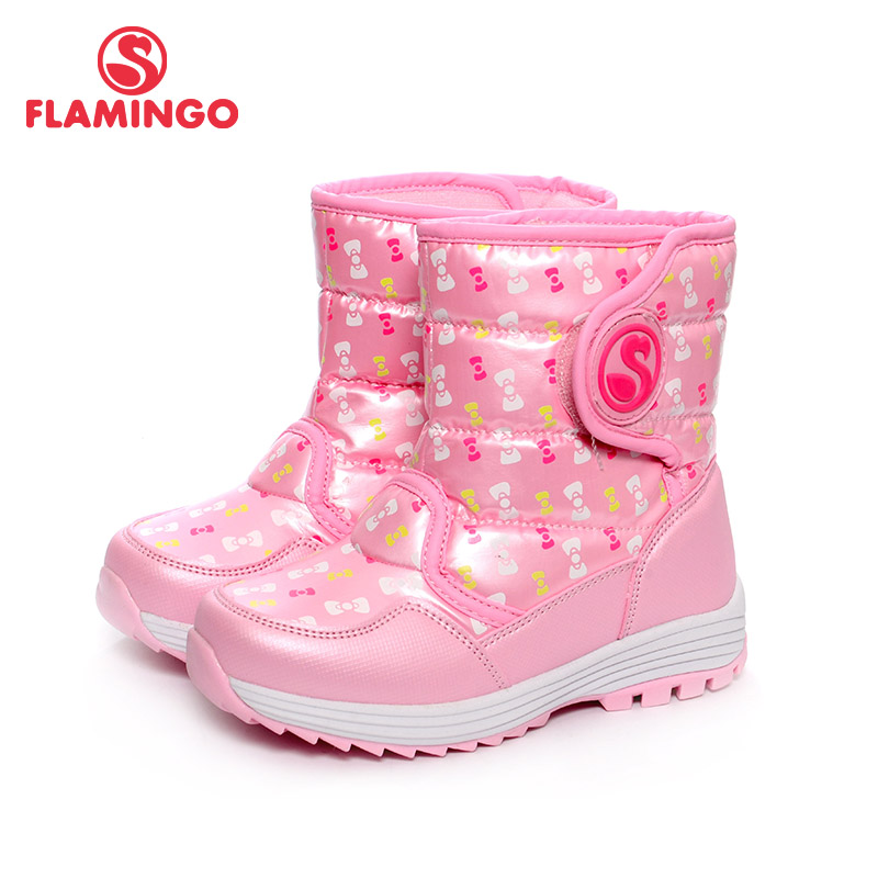 FLAMINGO Winter Waterproof Wool Warm Hook & Loop High Quality Flat Kids Shoes Anti-slip Snow Boots for Girl Size 28-33 W6NQ055 beyarne new women soft denim flats blue fashion high quality basic pointy toe ballerina ballet flat slip on office shoes