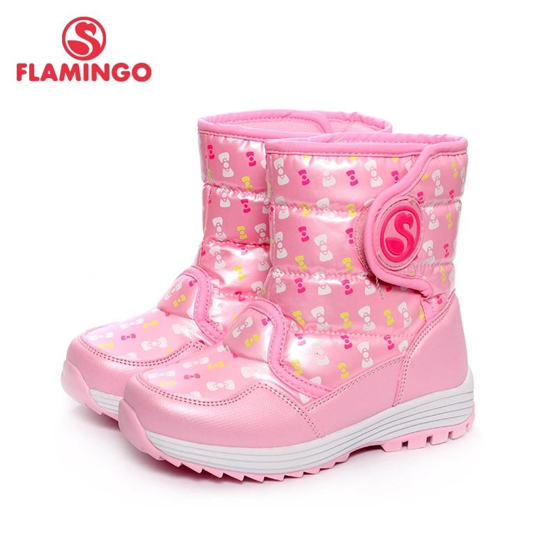 FLAMINGO Winter Waterproof Wool Warm Hook & Loop High Quality Flat Kids Shoes Anti slip Snow Boots for Girl Size 28 33 W6NQ055