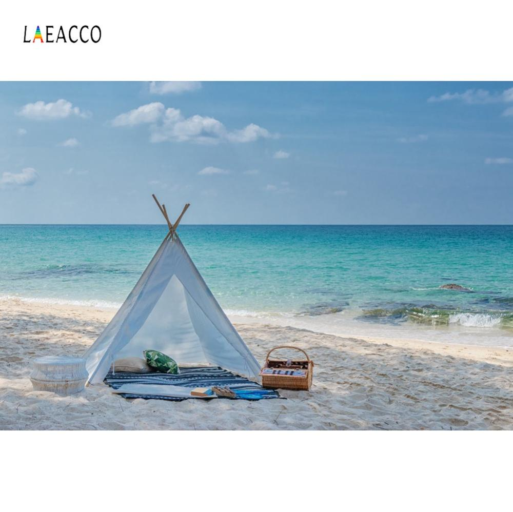 Tropical Backgrounds Tent Wigwam Summer Vocation Sea Beach Picnic Baby Scenic Photography Backdrops Photocall Photo Studio