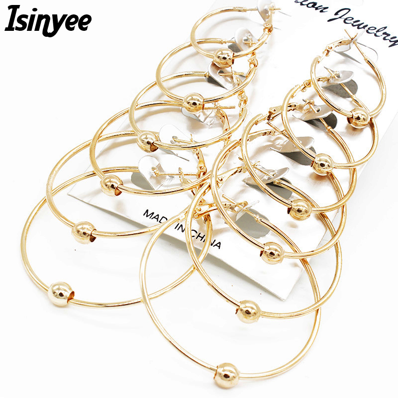Generous Isinyee 6 Pairs/set Fashion Oversize Big Large Circle Hoops Earrings Sets For Women Party Punk Style Round Jewelry With The Best Service Hoop Earrings