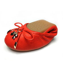 Egg Roll Shoes Female Autumn Bow Leather Shallow Mouth Flat To Dance