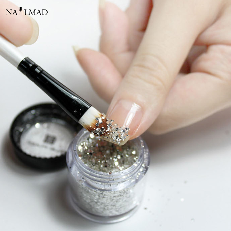 1pc Portable Glitter Picker Brush Nail Brush Powder Picking Tools Eye Shadow Brush Makeup Brush Nail Art Tool (Random Color)