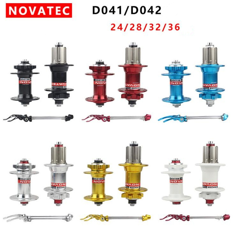 Original Novatec D041SB D042SB bicycle bike Hubs QR MTB Disc Hub Black Sealed Bearing 24 28 32 36 Holes red black ultralight bearing hubs mtb mountain bicycle hubs 32 holes 4 bearing quick release lever mountain bike disc brake parts 4colors