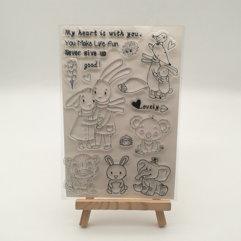 Cute Animal Rabbit Transparent Silicone Stencil For DIY Scrapbooking Photo Album Decorative Sheets