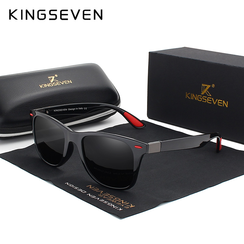 KINGSEVEN Brand Classic Mens Polarized Square Sunglasses Mirror Lens Unisex Sun Glasses Black Frame Eyewear